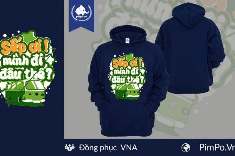 Áo nỉ hoodie đồng phục công ty VNA